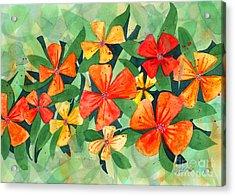 Tropical Flower Splash Acrylic Print by Kristen Fox