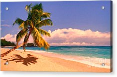 Tropical Island 6 - Painterly Acrylic Print by Wingsdomain Art and Photography