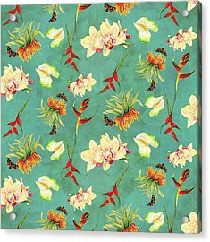 Tropical Island Floral Half Drop Pattern Acrylic Print by Audrey Jeanne Roberts