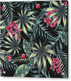 Tropical Leaf Pattern  Acrylic Print by Stanley Wong