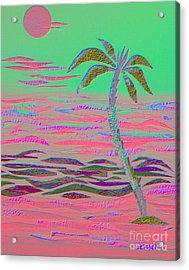 Hot Pink Coconut Palm Acrylic Print
