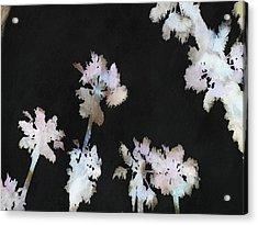 Tropical Palms On Black Background Acrylic Print by Tracey Harrington-Simpson