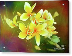 Acrylic Print featuring the photograph Tropical Plumeria Art By Kaye Menner by Kaye Menner