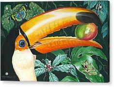 Tropical Rain Forest Toucan Acrylic Print by Richard De Wolfe