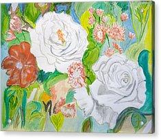 Tropical Rose Acrylic Print by Cathy Jourdan