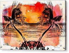 Acrylic Print featuring the digital art Tropical Seascape Digital Art C7717 by Mas Art Studio