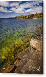 Tropical Waters Of Door County Wisconsin Acrylic Print by Mark David Zahn