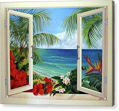 Tropical Window Acrylic Print by Katia Aho