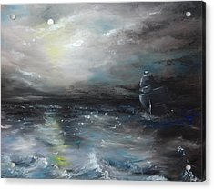 Acrylic Print featuring the painting Troubled Waters by Isabella F Abbie Shores FRSA