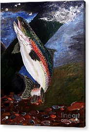 Acrylic Print featuring the painting Trout Bedding by Ayasha Loya