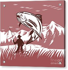 Trout Jumping Fisherman Acrylic Print