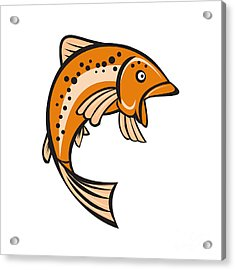 Trout Rainbow Fish Jumping Up Cartoon  Acrylic Print