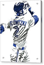 Troy Tulowitzki Toronto Blue Jays Pixel Art 2 Acrylic Print by Joe Hamilton