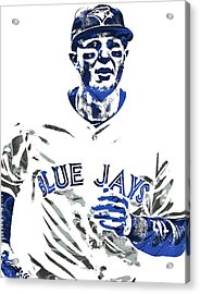 Troy Tulowitzki Toronto Blue Jays Pixel Art Acrylic Print by Joe Hamilton