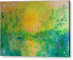 Trees In Sunset Acrylic Print by Demeter Gui