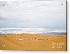 Truck Driving Through Desert Acrylic Print