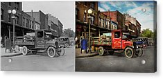 Acrylic Print featuring the photograph Truck - Home Dressed Poultry 1926 - Side By Side by Mike Savad