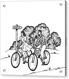 True Romance Seattle Bike Ride Acrylic Print by Karl Addison