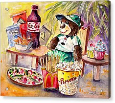 Truffle Mcfurry Warching At Us Golf Open 2015 Acrylic Print by Miki De Goodaboom