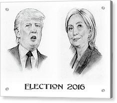 Trump And Hillary Pencil Portraits Election 2016 Acrylic Print
