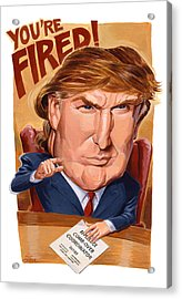 Trump Fires Back Acrylic Print by Shawn Shea