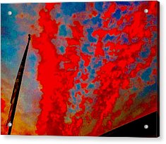 Trump Red Sunset Meets American Flag Acrylic Print