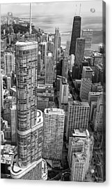 Acrylic Print featuring the photograph Trump Tower And John Hancock Aerial Black And White by Adam Romanowicz