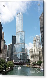 Trump Tower Overlooking The Chicago River Acrylic Print