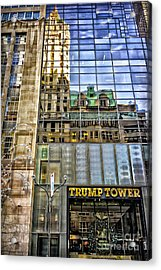 Acrylic Print featuring the photograph Trump Tower With Reflections by Walt Foegelle