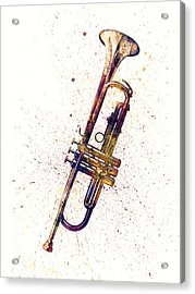 Trumpet Abstract Watercolor Acrylic Print