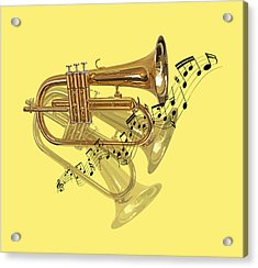 Trumpet Fanfare Acrylic Print by Gill Billington