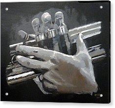 Acrylic Print featuring the painting Trumpet Hands by Richard Le Page