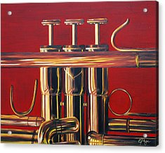Trumpet In Red Acrylic Print by Emily Page