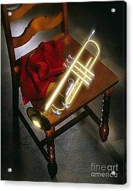 Trumpet On Chair Acrylic Print by Tony Cordoza