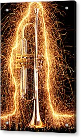 Trumpet Outlined With Sparks Acrylic Print