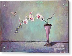 Trumpet Vase And Orchid  Acrylic Print by Lori  McNee
