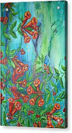 Trumpet Vine With Butterfly Acrylic Print by Sheri Hubbard