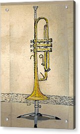 Acrylic Print featuring the digital art Trumpet by Walter Chamberlain
