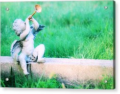 Trumpeting Cherub Acrylic Print by Captive Soul
