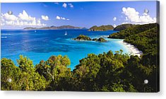 Trunk Bay Panorama Acrylic Print by George Oze