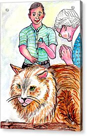 Trying To Give Grandmas Cat Her Medicine Acrylic Print