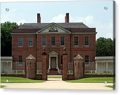 Tryon Palace Front With Gaurd Posts Acrylic Print by Rodger Whitney