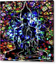 Tryptych Buddha Acrylic Print by Mynzah