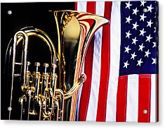 Tuba And American Flag Acrylic Print