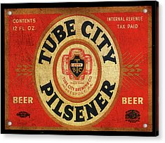 Acrylic Print featuring the digital art Tube City Pilsner by Greg Sharpe