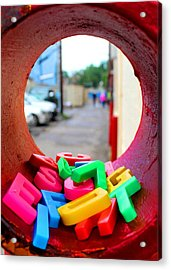 Tube Of Jumbled Letters Acrylic Print