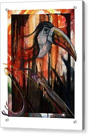 Acrylic Print featuring the mixed media Tucan by Anthony Burks Sr