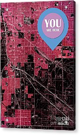 Tucson Arizona 1957 Red Old Map You Are Here Acrylic Print
