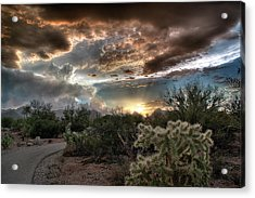 Acrylic Print featuring the photograph Tucson Mountain Sunset by Lynn Geoffroy