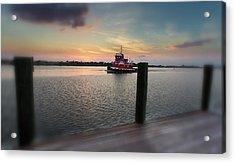 Tug Boat Sunset Acrylic Print